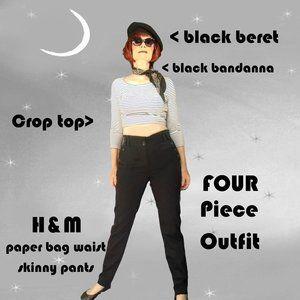 Black Skinny Pants, Black Beret, Striped Crop Top, Bandanna - FOUR Piece Outfit